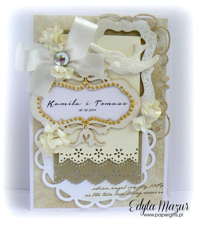 Biało-złota z ptaszkiem – kartka ślubna – składak dla Kamili i Tomasza