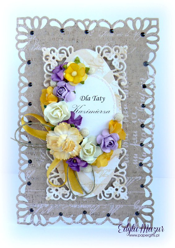 Brown with purple and yellow flowers - Card Day Dad