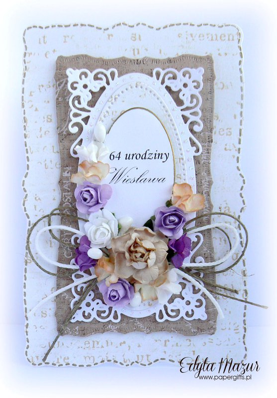 Brown and white with colorful flowers - card to celebrate 64 birthday