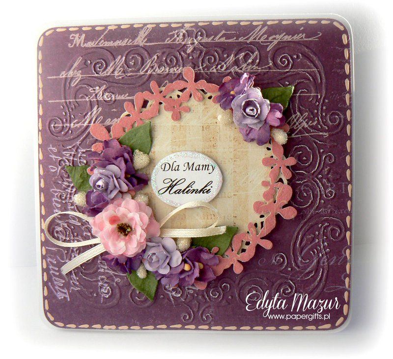 Purple with garland and purple flowers - Card for Mom