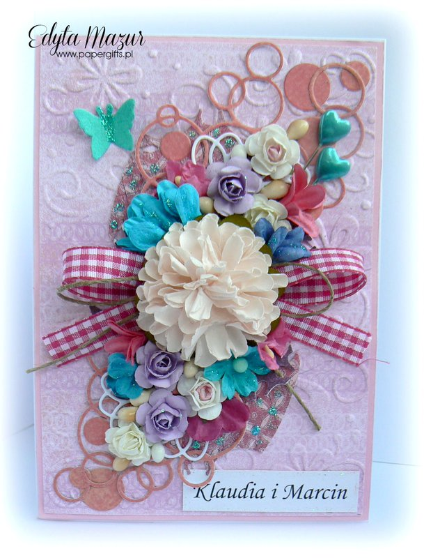 Różowo-turkusowa kartka na ślub Klaudii i Marcina