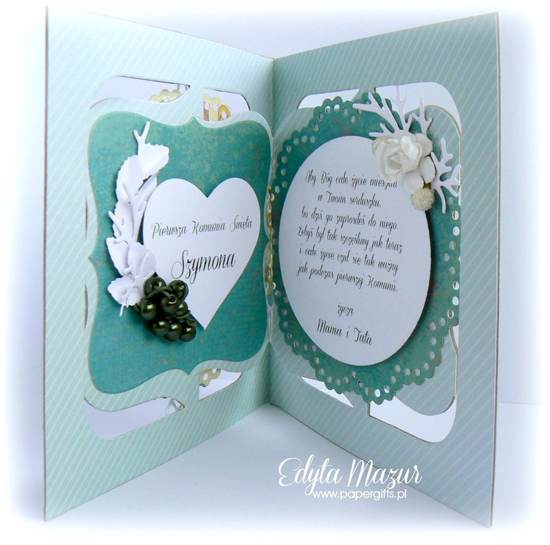 Turquoise with heart and roses - Souvenir Holy Communion Simon
