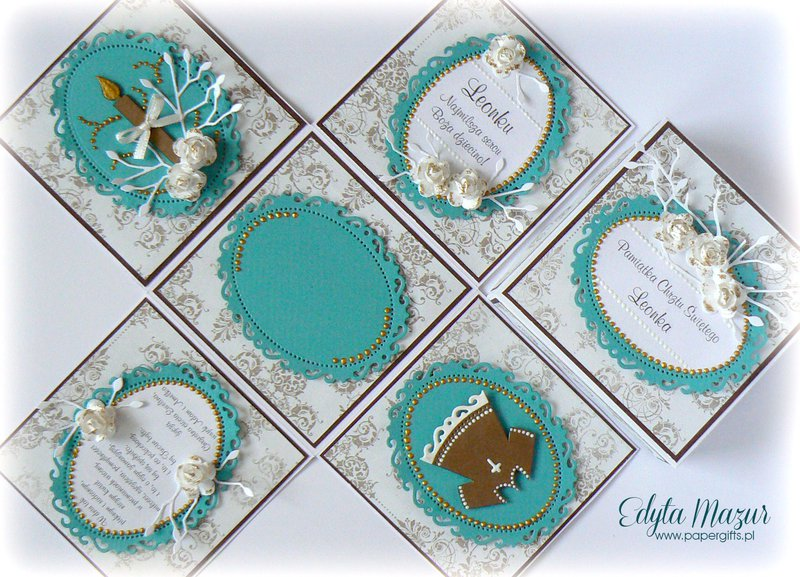 Turquoise and gold box on Baptism Leon
