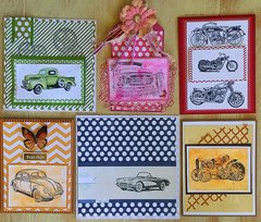 Deep Red Stamps Vintage Vehicles