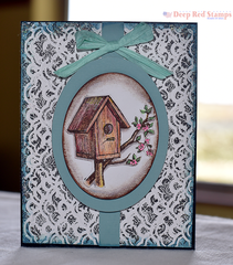 Spring Birdhouse featuring Deep Red Stamps