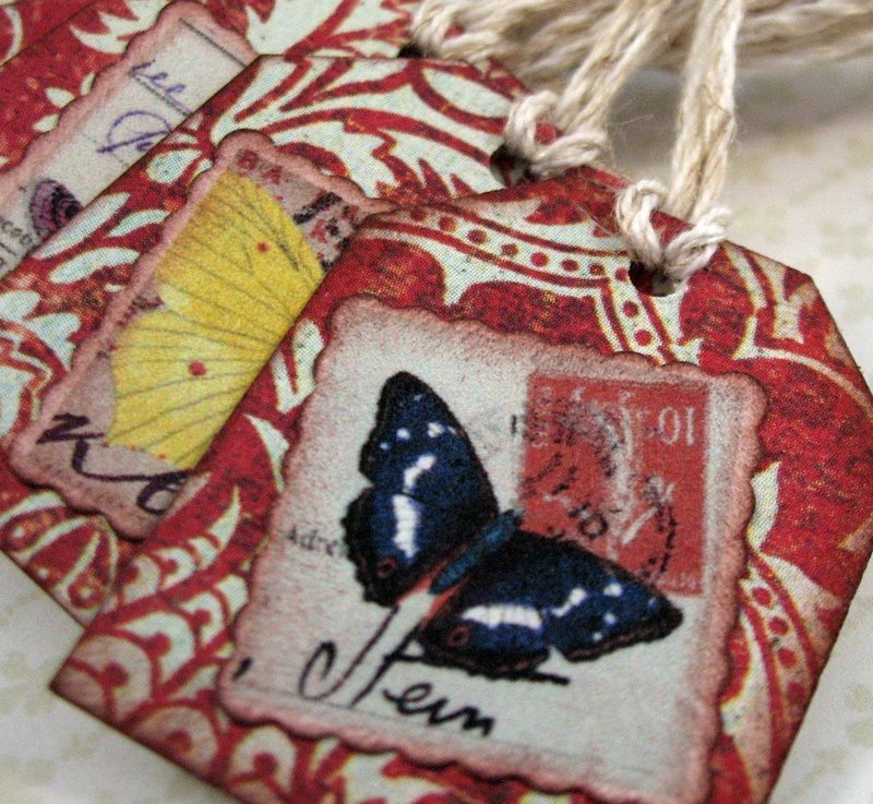 Vintage Butterfly Tags