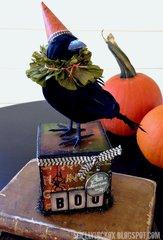 Halloween Crow Artist Trading Block