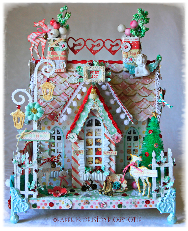 Christmas chipboard house - Prima Sweet Peppermint collection