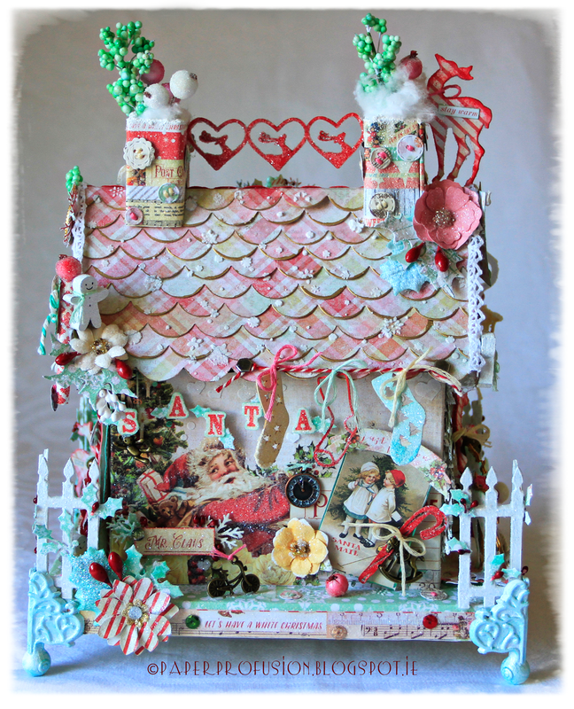 Chipboard house - Prima Sweet Peppermint collection
