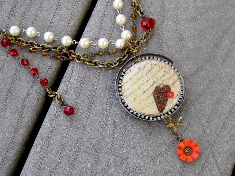 Industrial Chic Red, Antique Gold, Cream Necklace