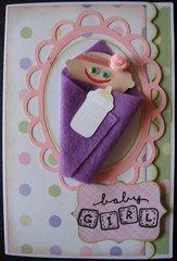 Swaddled Baby Card - Girl