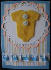 Felt Onesie Baby Card Close-Up