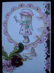 Little Girl With Flower Card - Pink & Green