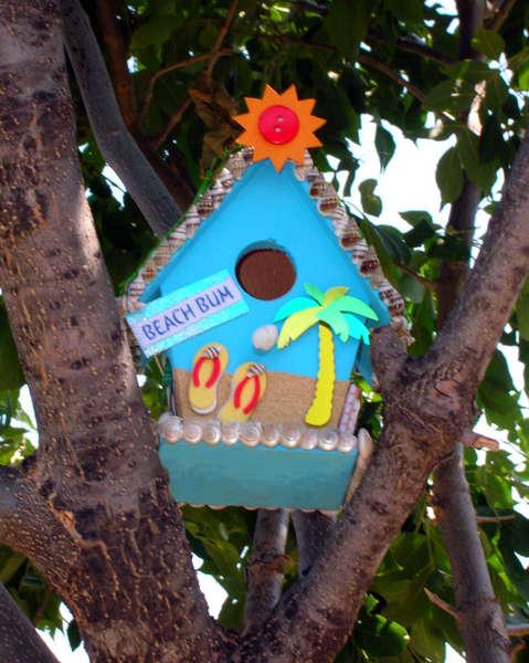"""Beach Bum"" Altered Birdhouse (""Artistic"" Shot)"