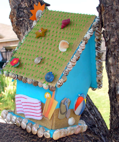 """Beach Bum"" Altered Birdhouse (Right/Back Shot)"