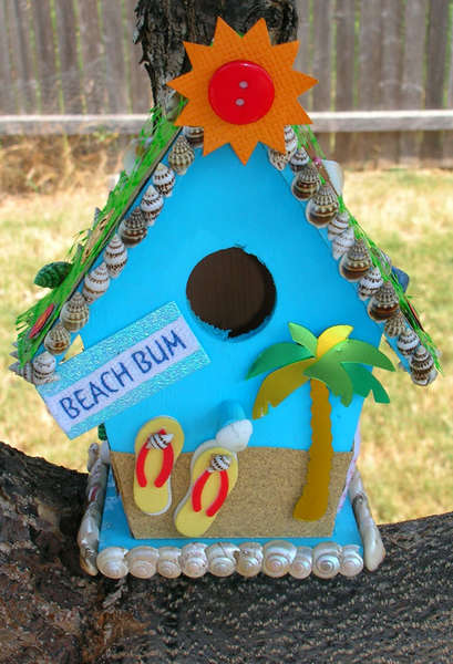 """Beach Bum"" Altered Birdhouse (Front Shot)"