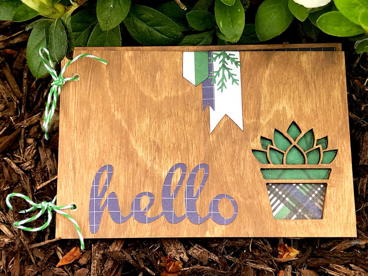Wooden Succulent Card