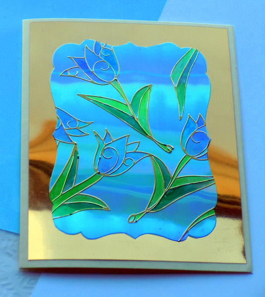 Tulip Stained Glass card