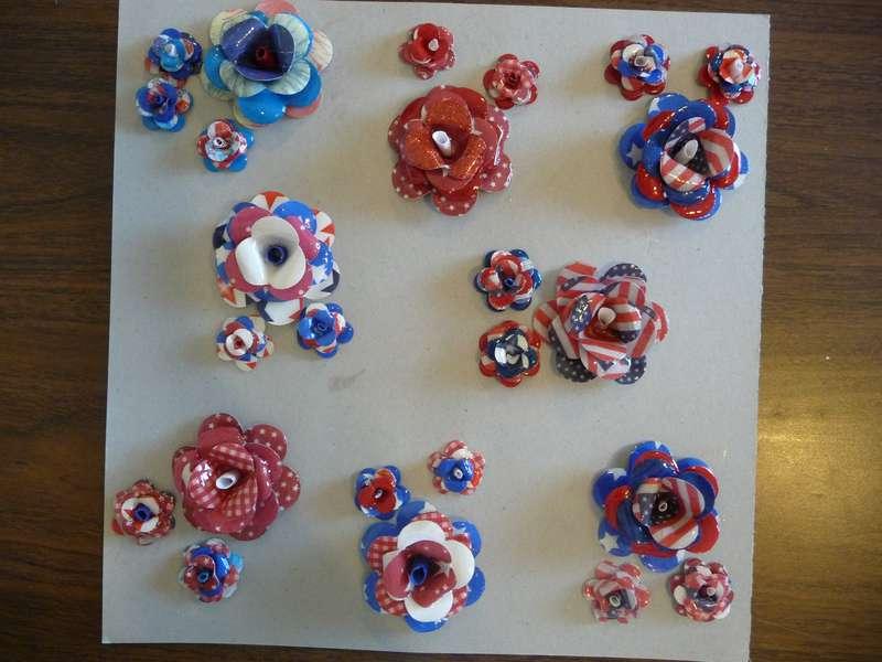 Patriotic paper flower embellishments