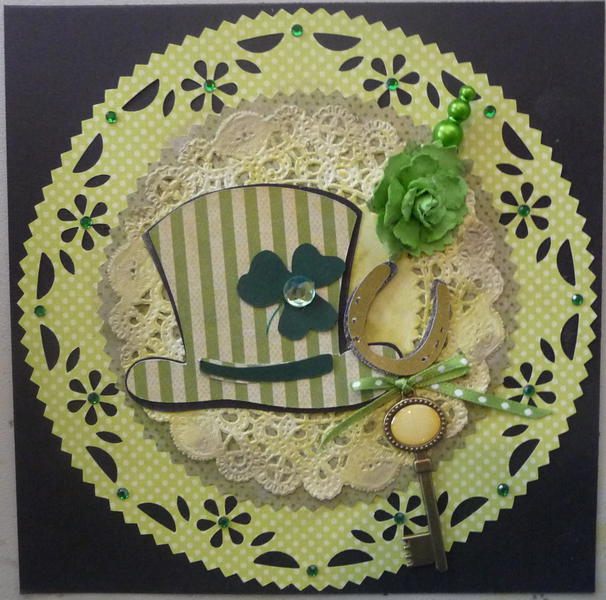 St. Patrick's Day card with hat pin key flower