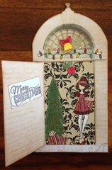 Opening door Christmas card - door open