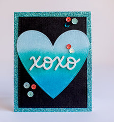 XOXO Distress Ink Heart Card