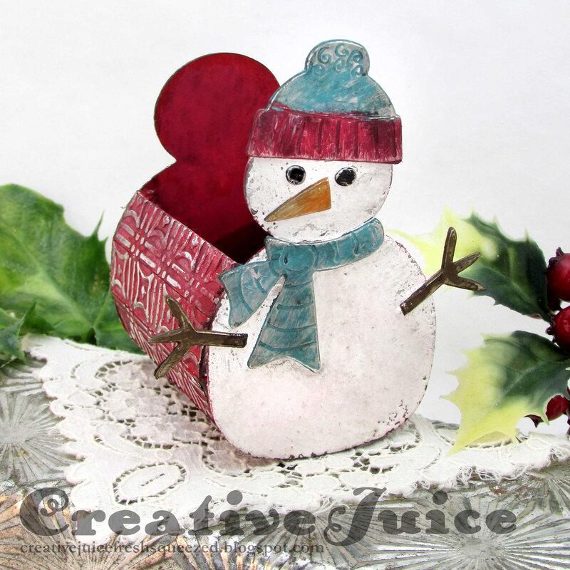 Snowman Die vintage treat holder
