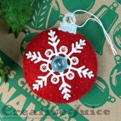 Snowflake stitched felt ornament