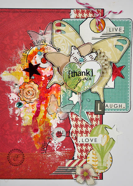 Mixed Media 'Thank you' card