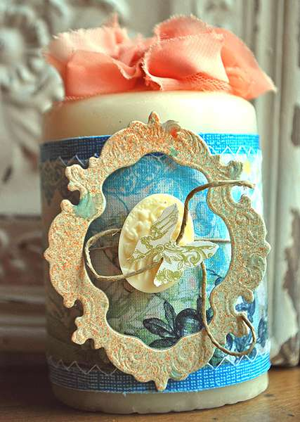 Altered Candle {NEW Webster's Fabric Strips and Bloomers}