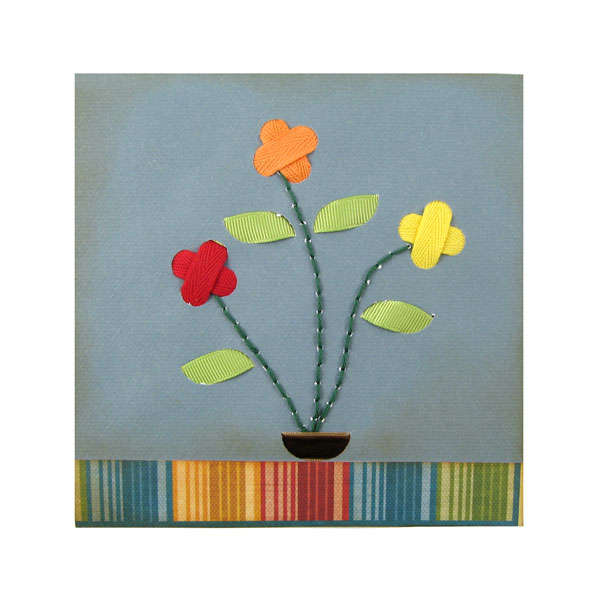 Sew Ribbon Flower Card