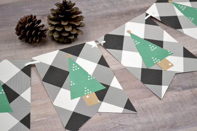 Geometric Christmas Tree Banner with We R Punch Boards