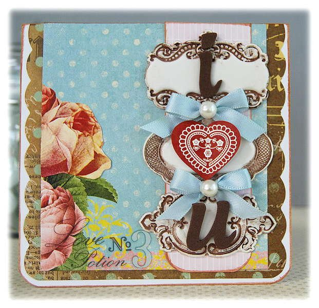 I heart U Card- Pink Paislee Sweetness Collection