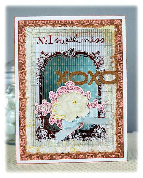 xoxo card- Pink Paislee Sweetness collection
