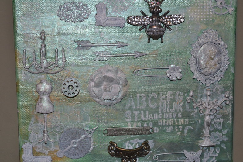 Shabby chic altered art canvas