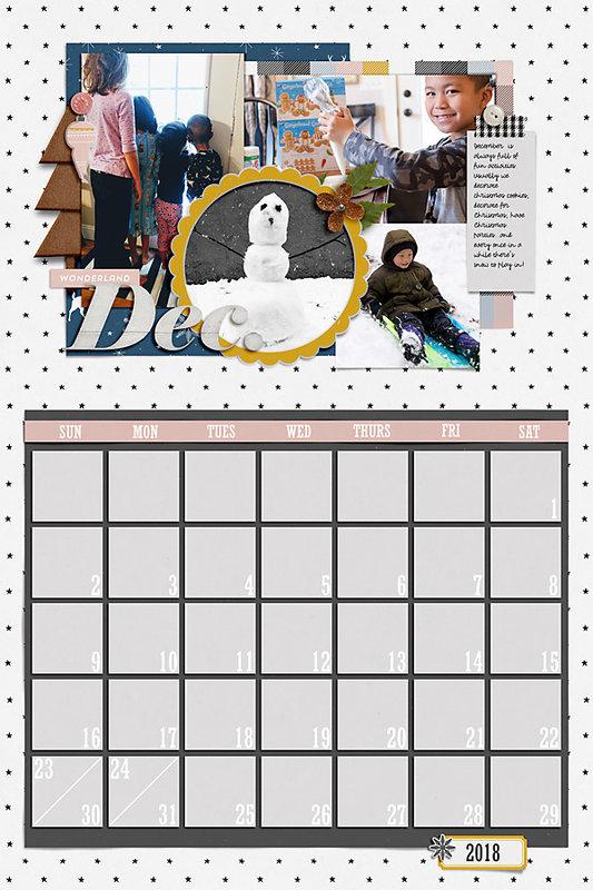 December Calendar Page for 2018