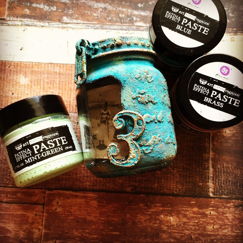 Upcycle altered **patina effect paste**