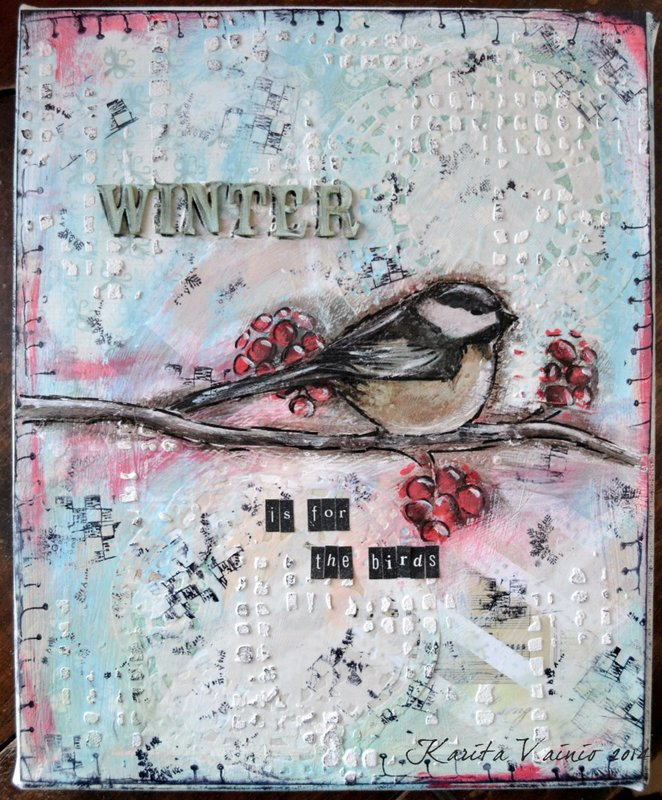 Winter bird - Mixed Media canvas