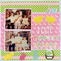 3 cute Easter Chicks
