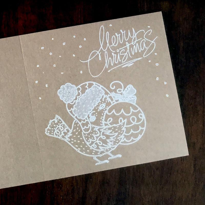 White gel pen drawn Christmas Cards