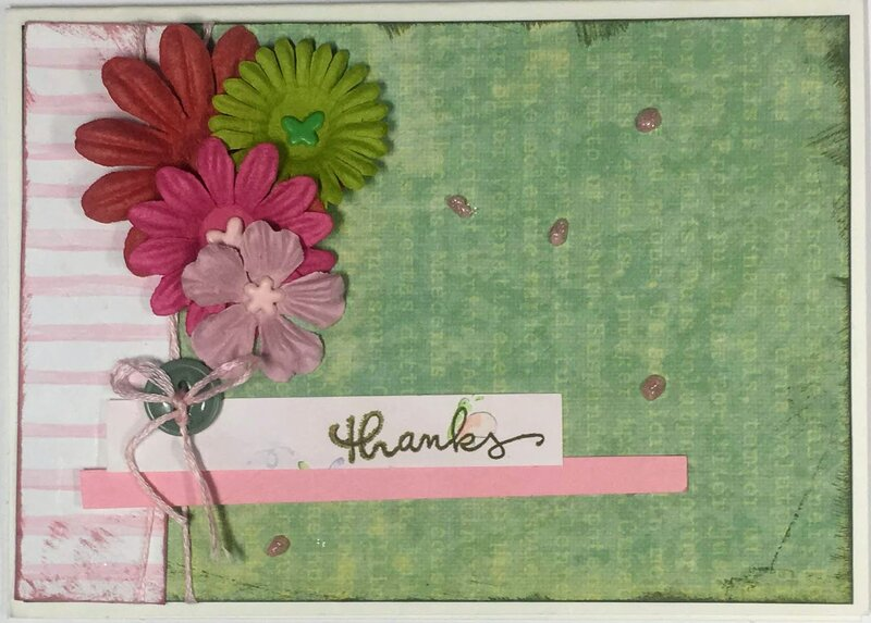 "Pink and green ""thanks"" card with flowers"