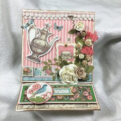 "G45 ""Botanical Tea"" easel card front open"