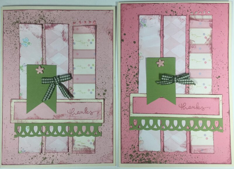 """Pink and green """"thanks"""" cards"""