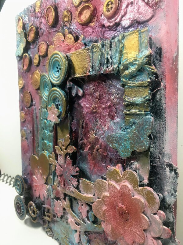 Mixed Media Canvas in Pink detail 2