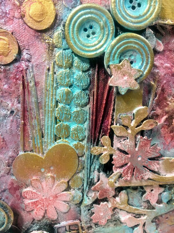Mixed Media Canvas in Pink detail 1