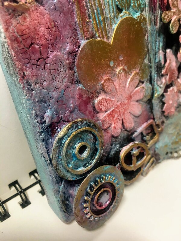 Mixed Media Canvas in Pink detail 3