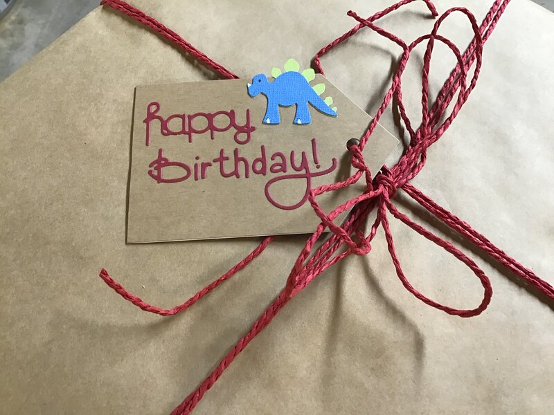 Gift tag to go with dinosaur card