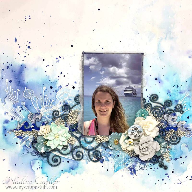 BY THE SEA MIXED MEDIA SCRAPBOOK LAYOUT