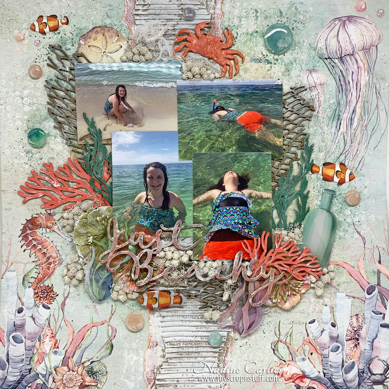 JUST BEACHY MIXED MEDIA SCRAPBOOK LAYOUT