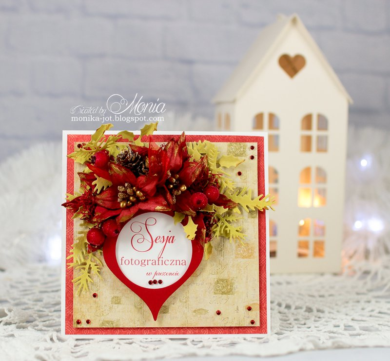 Christmas card with Pretty Flori red
